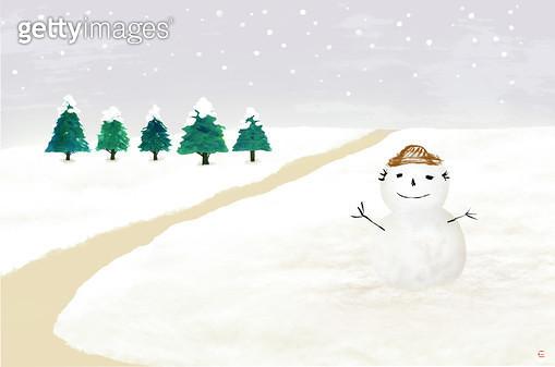 제목 : 눈사람과 소나무 (2015년)<br/>소재 : 먹,물감, 순지<br/>작품사이즈 : 52X34.48㎝(㎝)<br/>작품 설명 : 겨울, 설경, 눈사람, 소나무,먹그림 - gettyimageskorea