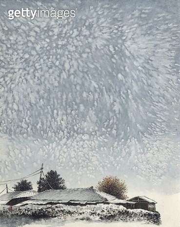 제목 : 겨울여행3<br/>소재 : 수묵채색<br/>작품사이즈 : 38 x 48(㎝)<br/>작품 설명 : 눈 지붕 겨울 여행 - gettyimageskorea