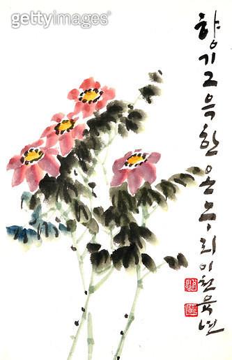 제목 : 꽃-향기 (2006년)<br/>소재 : 한지 수묵 채색<br/>작품사이즈 : 21x35(㎝)<br/>작품 설명 : 초대작가 순수미술 그림 미술작품 미술이미지 한국화 수채화 문인화 꽃 향기  - gettyimageskorea