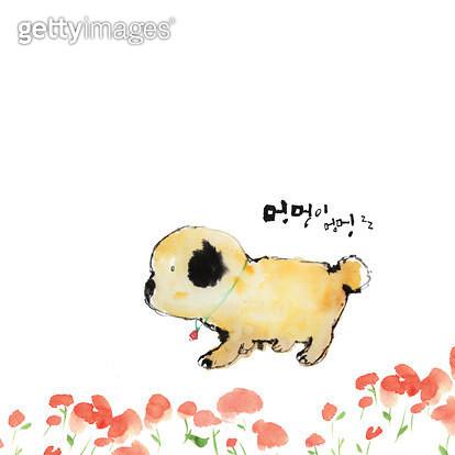 제목 : 멍멍이<br/>작품설명 : 강아지,꽃길,멍멍이,개,캘리그라피,수묵화,일러스트 - gettyimageskorea