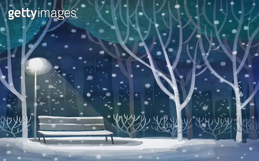 겨울 밤의 공원 - gettyimageskorea