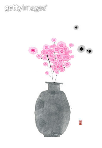 제목 : 꽃화병 (2014년)<br/>소재 : 물감, 먹, 화선지<br/>작품사이즈 : 30cmx43cm(㎝)<br/>작품 설명 : 화병,한국화,먹그림 - gettyimageskorea
