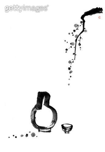 제목 : 매화, 술병 (2015년)<br/>소재 : 먹, 화선지<br/>작품사이즈 :  31X45㎝(㎝)<br/>작품 설명 : 매화, 술병, 술한잔,먹그림 - gettyimageskorea