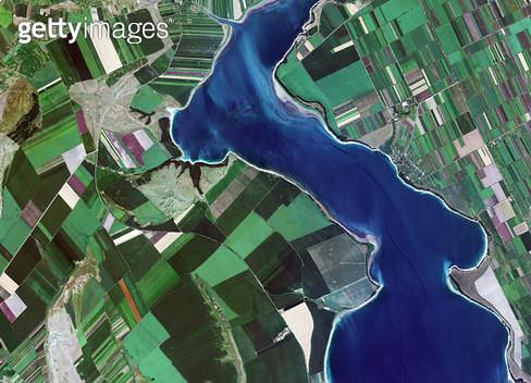 위성사진, 몰도바, 루마니아, 프루트 강 - gettyimageskorea