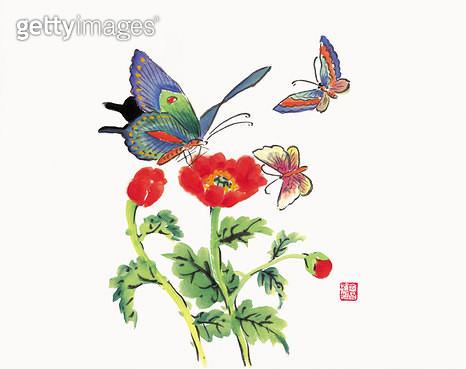 제목 : 나비 (2012년)<br/>소재 : 한지 채색<br/>작품사이즈 : 35 x 25(㎝)<br/>작품 설명 : 문인화 먹 나비 꽃 빨강 - gettyimageskorea