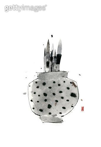 제목 : 붓 (2014년)<br/>소재 : 먹, 화선지<br/>작품사이즈 : 30cmx43cm(㎝)<br/>작품 설명 : 화병,한국화,먹그림 - gettyimageskorea