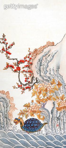제목 : 해구도 (2012년)<br/>소재 : 한지 채색<br/>작품사이즈 : 8호(㎝)<br/>작품 설명 : 추천작가 한국화 민화 거북이 꽃 바다 바위 풍경 - gettyimageskorea