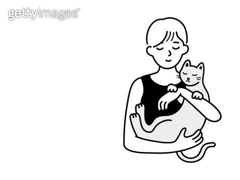 고양이를 안고 있는 사람 - gettyimageskorea