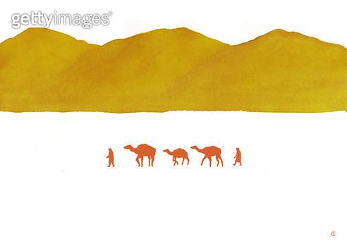 제목 : 산, 붉은낙타 (2015년)<br/>소재 : 주묵, 물감<br/>작품사이즈 :  50X40㎝(㎝)<br/>작품 설명 : 사막, 높은산, 낙타, 여정,먹그림 - gettyimageskorea