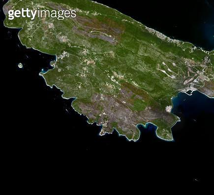 위성사진, 몬테네그로, 코토르 만 - gettyimageskorea