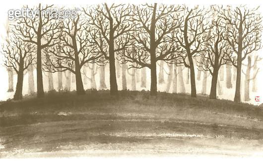 제목 : 나무와 나뭇가지 (2015년)<br/>소재 : 먹,물감,순지<br/>작품사이즈 :  33.5X20.5㎝(㎝)<br/>작품 설명 : 나무,울창함,겨울,언덕,먹그림 - gettyimageskorea