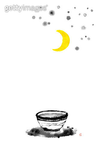 제목 : 정화수, 초승달 (2015년)<br/>소재 : 먹,물감,순지<br/>작품사이즈 :  30X41㎝(㎝)<br/>작품 설명 : 정화수, 기원, 초승달, 별, 먹그림 - gettyimageskorea