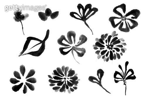 꽃 수묵화 무늬 - gettyimageskorea