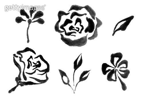 꽃,풀 수묵화무늬 - gettyimageskorea