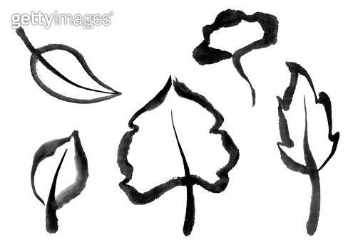 나뭇잎, 나무 수묵화 무늬 - gettyimageskorea