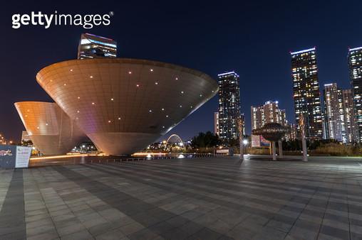 송도 센트럴파크 야경, 인천 연수구 송도신도시 - gettyimageskorea