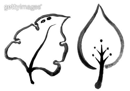 잎사귀 수묵화 무늬 - gettyimageskorea