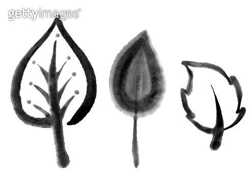 나무, 잎사귀 수묵화 무늬 - gettyimageskorea