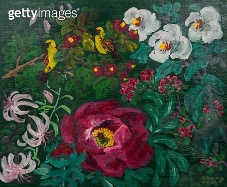 제목 : 목련과 새 (2015년)<br/>소재 : acrylic on canvas<br/>작품사이즈 : 52x45(㎝)<br/>작품 설명 : 원로중진 유화 캔버스화 미술작품 자연 꽃 야생화 정원화 목련 새 봄 - gettyimageskorea