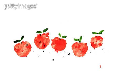 제목 : 빨간 사과들 (2015년)<br/>소재 : 물감, 화선지<br/>작품사이즈 : 43cmx30cm(㎝)<br/>작품 설명 : 사과,오형제 - gettyimageskorea