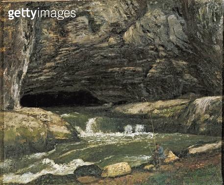 <b>Title</b> : The Source of the Loue or La Grotte Sarrazine (oil on canvas)Additional InfoLa Source de la Loue; river near Ornans in Franche-C<br><b>Medium</b> : oil on canvas<br><b>Location</b> : Musee Municipal, Lons-le-Saulnier, France<br> - gettyimageskorea