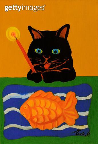 제목 : 사랑이뭐길래 (2015년)<br/>소재 : 캔버스 유채<br/>작품사이즈 : 18x28(㎝)<br/>작품 설명 : 추천작가 서양화 유화 동물 고양이 사랑 추억 반려동물 검은고양이 - gettyimageskorea