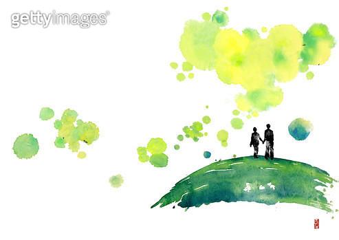 제목 : 언덕 (2015년)<br/>소재 : 물감, 먹, 화선지<br/>작품사이즈 : 42cmx30cm(㎝)<br/>작품 설명 : 언덕,기억,풍경,몽환 - gettyimageskorea