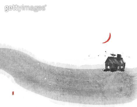 제목 : 언덕 위 집 (2015년)<br/>소재 : 먹, 화선지<br/>작품사이즈 : 27cmx21cm(㎝)<br/>작품 설명 : 어덕,집,먹그림,외로움 - gettyimageskorea