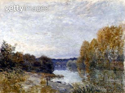 <b>Title</b> : Soleil Couchant, or Autumn Evening on the River, 1895 (oil on canvas)<br><b>Medium</b> : oil on canvas<br><b>Location</b> : Leeds Museums and Galleries (City Art Gallery) U.K.<br> - gettyimageskorea