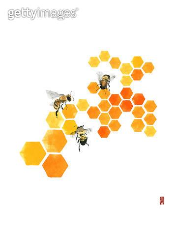 제목 : 꿀벌들 (2014년)<br/>소재 : 물감, 먹, 화선지<br/>작품사이즈 : 22cmx30cm(㎝)<br/>작품 설명 : 벌,양봉,꿀, - gettyimageskorea