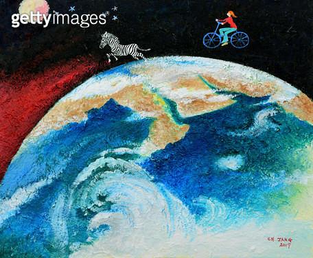 제목 : 지구-생명의 기원 (2017년)<br/>소재 : 한지 채색<br/>작품사이즈 : 45x38(㎝)<br/>작품설명 : 순수미술 그림 미술작품 미술이미지 그림이미지 한국미술 한국화 풍경화 채색화 자연 지구 생명 기원 탄생 - gettyimageskorea