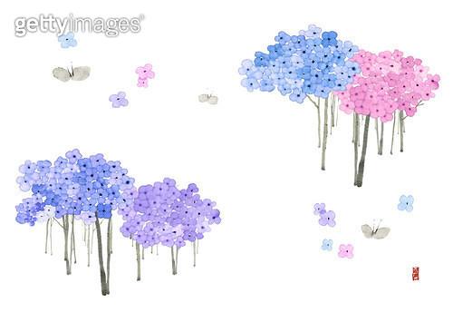 제목 : 꽃나무숲 (2015년)<br/>소재 : 물감, 먹, 화선지<br/>작품사이즈 : 43cmx30cm(㎝)<br/>작품 설명 : 꽃,화사한,숲,먹그림 - gettyimageskorea