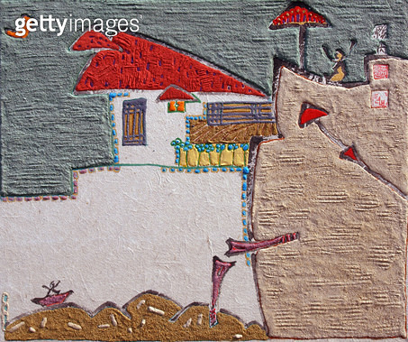 제목 : 자연-삶 (2014년)<br/>소재 : 한지 돌 먹 채색<br/>작품사이즈 : 10호(㎝)<br/>작품 설명 : 미술작품 원로중진작가 한국화 한지 닥종이 석채화 비구상화 자연 산 인간 삶 사랑 형상 - gettyimageskorea