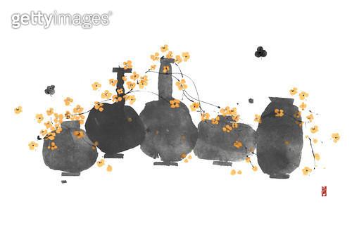 제목 : 항아리와 꽃 (2015년)<br/>소재 : 물감, 먹, 화선지<br/>작품사이즈 : 43cmx31cm(㎝)<br/>작품 설명 : 항아리,먹그림,꽃 - gettyimageskorea