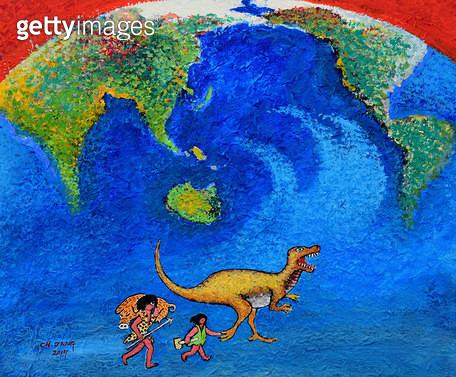 제목 : 지구-생명의 기원 (2016년)<br/>소재 : 한지 채색<br/>작품사이즈 : 45x38(㎝)<br/>작품설명 : 순수미술 그림 미술작품 미술이미지 그림이미지 한국미술 한국화 풍경화 채색화 자연 지구 생명 기원 탄생 - gettyimageskorea