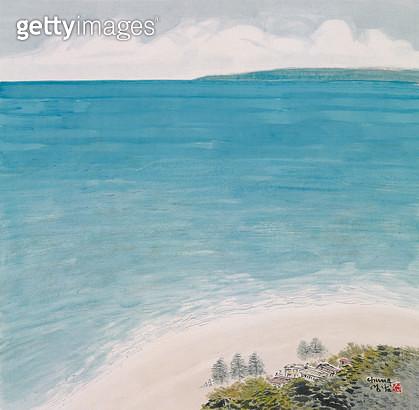 제목 : 뉴질랜드 바다 (2000년)<br/>소재 : 한지/수묵담채<br/>작품사이즈 : 70 x 70(㎝)<br/>작품 설명 : 비취빛의 뉴질랜드 남태평양의 바다 - gettyimageskorea