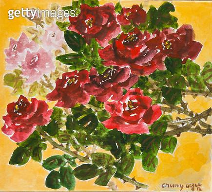 제목 : 축제 (2015년)<br/>소재 : 한지 수묵담채 채색<br/>작품사이즈 : 27x24(㎝)<br/>작품 설명 : 원로중진 한지 한국화 들풀 들꽃 야생화 정원화 꽃 축제 - gettyimageskorea
