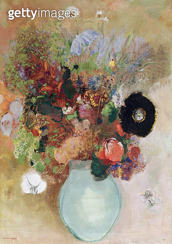 <b>Title</b> : Flowers in a Green Vase, 1910 (oil on canvas)Additional InfoFleurs dans un Vase Vert;<br><b>Medium</b> : oil on canvas<br><b>Location</b> : Private Collection<br> - gettyimageskorea