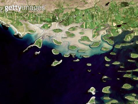위성사진, 아일랜드, 뉴필드, 해변 - gettyimageskorea