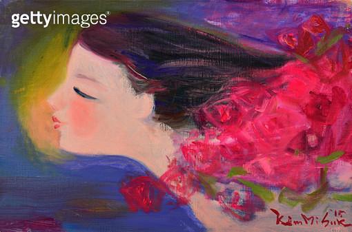 제목 : 여심  (2015년)<br/>소재 : 캔버스 유채<br/>작품사이즈 : 6호(㎝)<br/>작품 설명 : 추천작가 캔버스화 유화 서양화 자연 사람 여인 꽃 향기 - gettyimageskorea