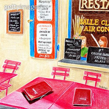 분홍색 테이블의 레스토랑 - gettyimageskorea