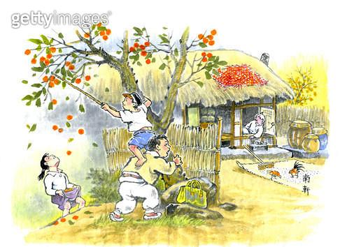 제목 : 낮잠 (2014년)<br/>소재 : 종이 수묵담채<br/>작품사이즈 : 29x21(㎝)<br/>작품 설명 : 한국화 한국문화 전통놀이 풍속 명절 전통복장 농촌 옛날 시골이야기 한국의멋 고향 옛생각 - gettyimageskorea