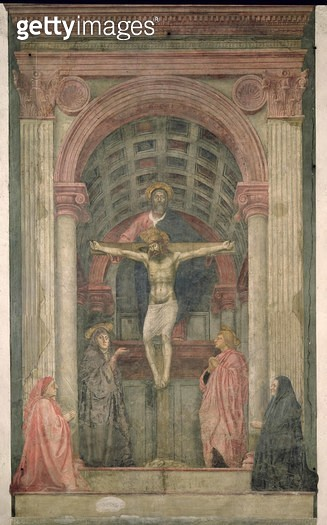 <b>Title</b> : The Trinity, 1427-28 (fresco) (detail) (see also 173689-91, 200125-200130)<br><b>Medium</b> : <br><b>Location</b> : Santa Maria Novella, Florence, Italy<br> - gettyimageskorea