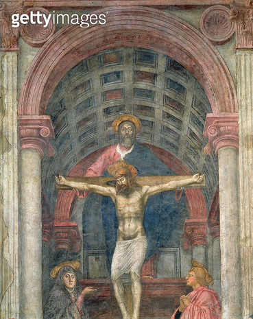 <b>Title</b> : The Trinity, 1427-28 (fresco) (detail) (see also 173689-91, 200125-200130)<br><b>Medium</b> : fresco<br><b>Location</b> : Santa Maria Novella, Florence, Italy<br> - gettyimageskorea