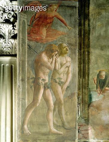 <b>Title</b> : Adam and Eve banished from Paradise, c.1427 (fresco) (pre-restoration) (see also 30029)<br><b>Medium</b> : <br><b>Location</b> : Brancacci Chapel, Santa Maria del Carmine, Florence, Italy<br> - gettyimageskorea