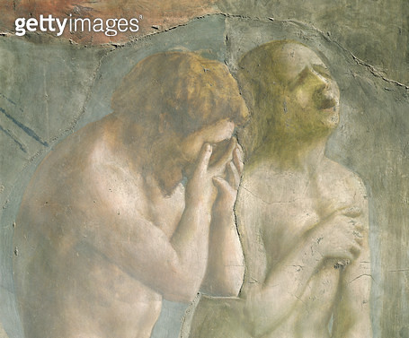 <b>Title</b> : Adam and Eve banished from Paradise, c.1427 (fresco) (detail) (pre-restoration) (see also 63190)<br><b>Medium</b> : <br><b>Location</b> : Brancacci Chapel, Santa Maria del Carmine, Florence, Italy<br> - gettyimageskorea