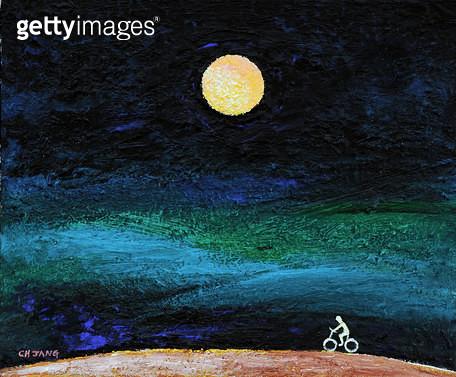 제목 : 달이 있는 풍경 (2012년)<br/>소재 : 한지 수묵 채색<br/>작품사이즈 : 8호(㎝)<br/>작품 설명 : 초대작가 그림 미술작품 미술이미지 한국화 수채화 채색화 풍경화 자연 달 풍경 밤 - gettyimageskorea