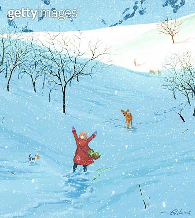 소녀,사슴,만남,재회,겨울,산,눈,아기사슴 - gettyimageskorea