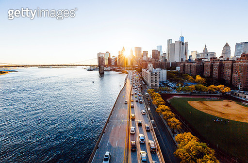 New York cityscape elevated view during sunset, New York State, USA - gettyimageskorea