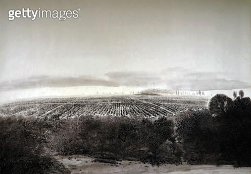 제목 : 향토 (2018년)<br/>소재 : 한지 수묵<br/>작품사이즈 : 145x211(㎝)<br/>작품설명 : 순수미술 그림 미술작품 미술이미지 그림이미지 한국화 수묵화 동양화 풍경 자연 나무 고향 시골 계절 - gettyimageskorea